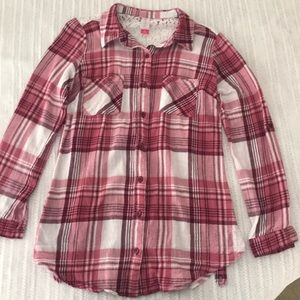 Pink and white plaid flannel shirt with lace